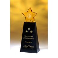 Crystal Golden Star on Black Base Award