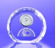 Faceted Round Optic Crystal Clock