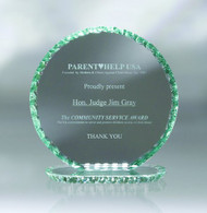 Pearl Edge Corona Jade Glass Award available in 3 different sizes