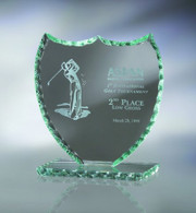 Jade Shield Glass Award available in 3 different sizes