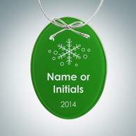 Beveled Green Oval Ornament