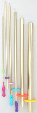 """F-1 Set proudly made in the US by us!  6 Brass Tubes with 3 Pull Wires  #6 Brass Tube 3/4"""" dia. Finished tube width 1 1/8""""; uses largest pull wire with purple handle. #5 Brass Tube 1/2"""" dia. Finished tube width 13/16""""; uses largest pull wire with purple handle. #4 Brass Tube 3/8"""" dia. Finished tube width 1/2""""; uses largest (purple) and middle size pull wire with teal or blue handle. #3 Brass Tube 1/4"""" dia. Finished tube width 3/8""""; uses middle size pull wire with teal or blue handle. #2 Brass Tube 3/16"""" dia. Finished tube width 5/16""""; uses middle size pull wire with teal or blue handle. #1 Brass Tube 1/8"""" dia. Finished tube width 3/16""""; uses smallest pull wire with pink handle."""
