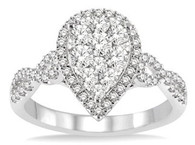 3/4 CTW Pear Shape Diamond Lovebright Ring