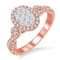 5/8 Ctw Oval Shape Round Cut Diamond Lovebright Ring in 14K Rose Gold