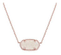 Kendra Scott Elisa Necklace Rose Tone Iridescent Drusy
