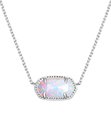 Kendra Scott Elisa Necklace Rhodium/White Kyocera Opal