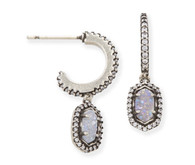 Kendra Scott Cale Earrings (Antique Silver/Iridescent Drusy)