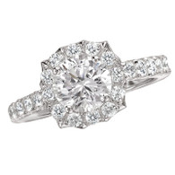 Scalloped Halo Diamond Wedding Set