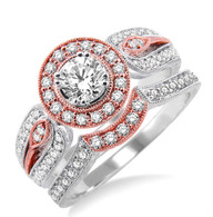1.00cttw White/Rose Engagement Set