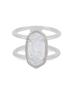 Kendra Scott Elyse Ring Rhodium/Iridescent Drusy Size 8