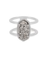 Kendra Scott Elyse Ring Rhodium/Platinum Drusy Size 6