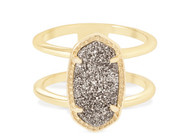 Kendra Scott Elyse Ring Gold Tone/Platinum Drusy Size 8