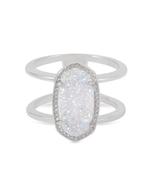 Kendra Scott Elyse Ring Rhodium/Iridescent Drusy Size 6