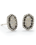 Kendra Scott Cade Earrings Antique Silver/ Iridescent Drusy