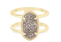 Kendra Scott Elyse Ring Gold/Platinum Drusy Size 7