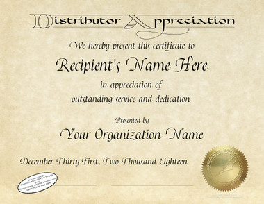 Distributor appreciation all certificates are designed with our exclusive calligraphy fonts gold foil seal is embossed yadclub Image collections