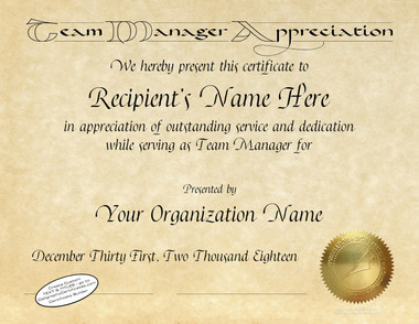 Manager appreciation all certificates are designed with our exclusive calligraphy fonts gold foil seal is embossed yadclub Choice Image
