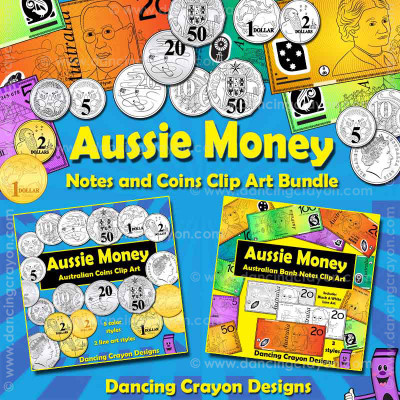 Australian Currency Clipart: Australian Coins and Banknotes