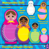 Matryoshka doll clipart / puzzle cards