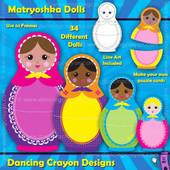 Matryoshka doll clipart / puzzle cards