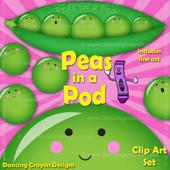 Peas in a pea pod clipart set