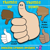 Thumbs up, thumbs down - free clipart