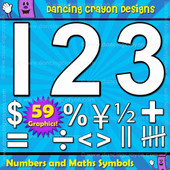 Black line numbers and math symbols clipart