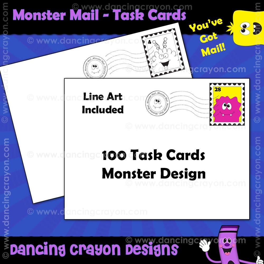 monster mail blank task cards. Black Bedroom Furniture Sets. Home Design Ideas