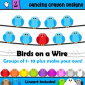 Birds on a wire clipart
