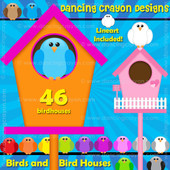 Birds and birdhouses clipart
