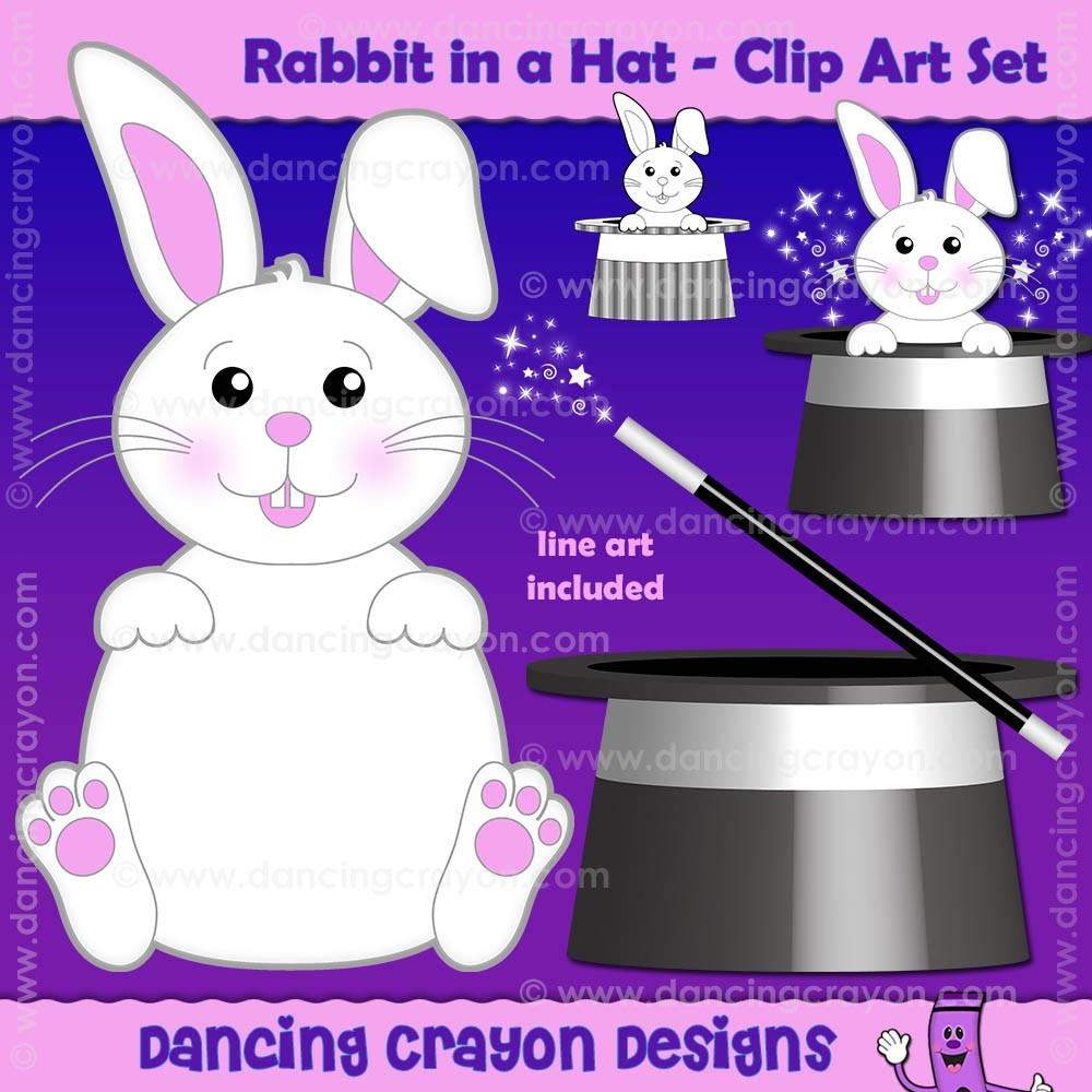 Rabbit in Hat Clip Art