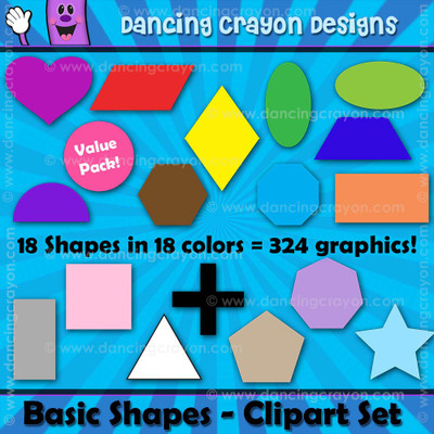 Basic Shapes Clipart Set - Circles, squares, triangles, and more shapes.