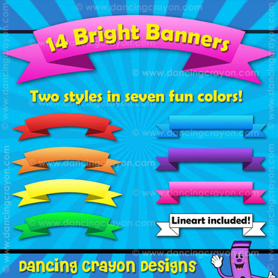 Banners: Bright Banners / Ribbons Clip Art