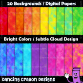 Backgrounds: Bright Colors with Subtle Cloud Patterns - Digital Papers
