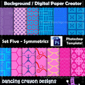 photoshop template - symmetrical pattern - digital paper template