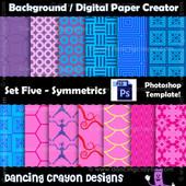 photoshop template - symmetrical pattern - digital paper template