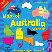 Australia Maps Clip Art: Maps of Australia and Australian states
