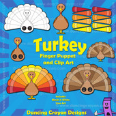 Turkey clipart and turkey finger puppet printable