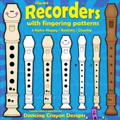 Recorder clip art and recorder fingering charts