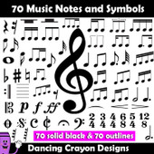 Music notes and symbols clip art
