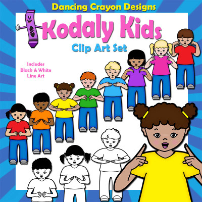 Clip art of children singing using Kodaly hand signs (Curwen)