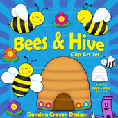 Bees and hive clip art.