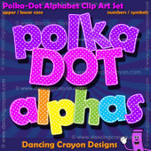 Polka-dot alphabet clipart.
