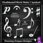 Music note clipart in chalk style