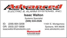 Advanced Electric and Alarm logo printed on 12 point Kromekote glossy business card stock.