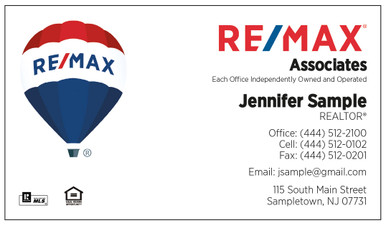 Newest RE/MAX logo printed on 12 point Kromekote glossy business card stock.