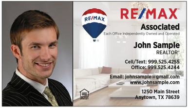 RE/MAX logos printed on 14 point or upgrade option to 16 point card stock. Elegant home interior background with UV gloss coating on the front. Optional full color back printing.