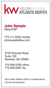 Keller Williams newest logo printed on 12 point Kromekote glossy business card stock, vertical orientation.