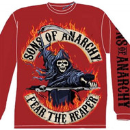 Sons of Anarchy 'Flaming Reaper' Long Sleeve Red T-shirt