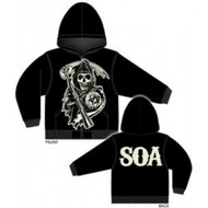 Sons of Anarchy Large Muted Grim Reaper Full Zip Hoodie Sweatshirt